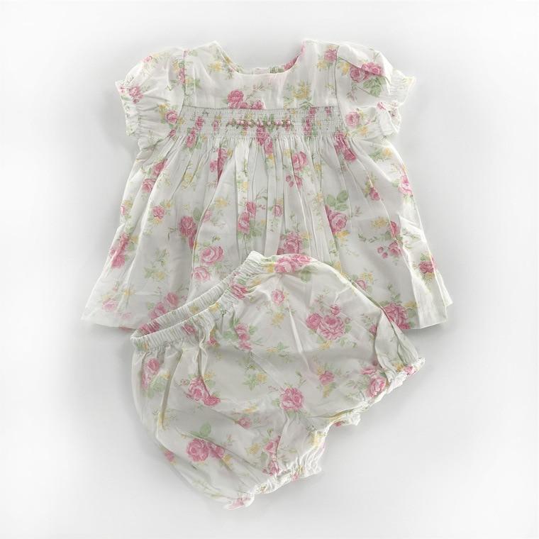 2020 baby girl dress set summer toddler girls smocked floral dresses+pants kids girl short sleeve princess 2 pieces dress shorts