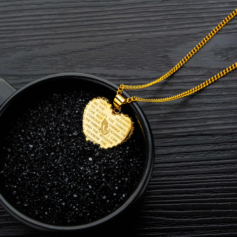 TTVOVO werset biblijny monety Medal marki modlitwa ręce wisiorek naszyjnik dla mężczyzn w stylu Vintage złoty kolor ze stali nierdzewnej Christian biżuteria