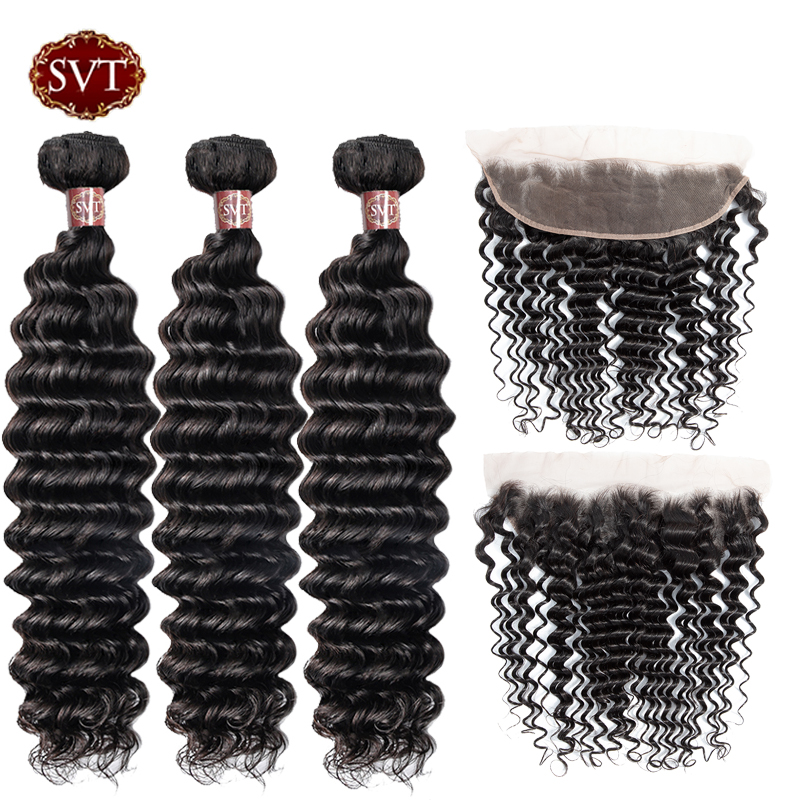 SVT Deep Wave Bundles With Frontal Non Remy Human Hair Bundles With Closure Peruvian Hair Weave 3 Bundles With 13x4 Closure