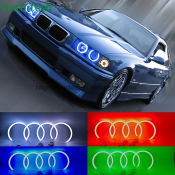 HochiTech 5050 SMD Cotton Multi-Color RGB LED Angel Eyes Kit with remote control for BMW 3 Series E36 1990-2000 car styling