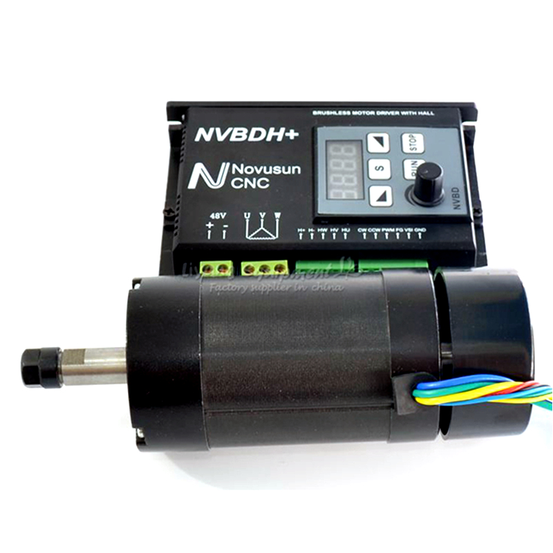 400W Brushless CNC Spindle Motor 48VDC Diameter 55mm & 600W Brushless Motor Driver NVBDH+ With Hall For Woodworking Machine