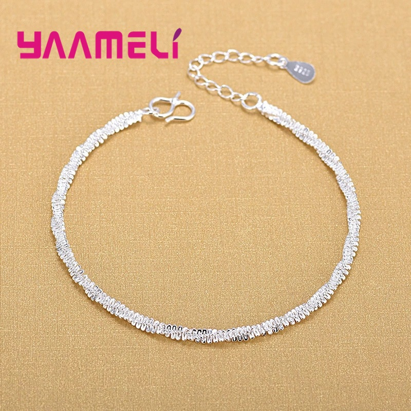 Real 925 Sterling Silver Bangles Pretty Cute Charming Rope Chain Bracelet Anklet For Woman Wife Girls Daily Jewelry