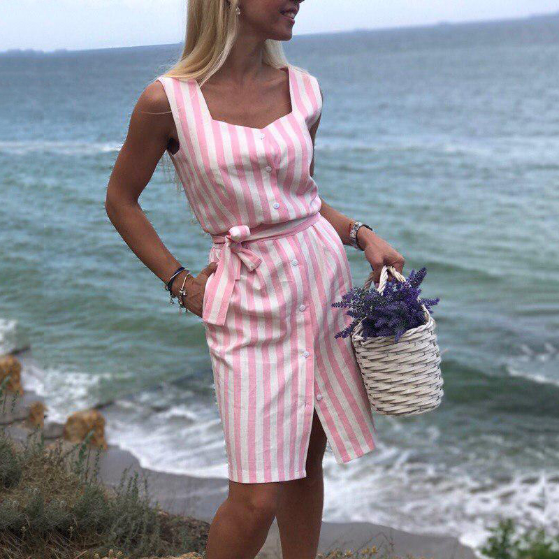 2020 New Women Elegant Stripe Shirt Dress Square Collar Sleeveless Belt Dresses Pink Stripe Beach Party Dress Vestidos