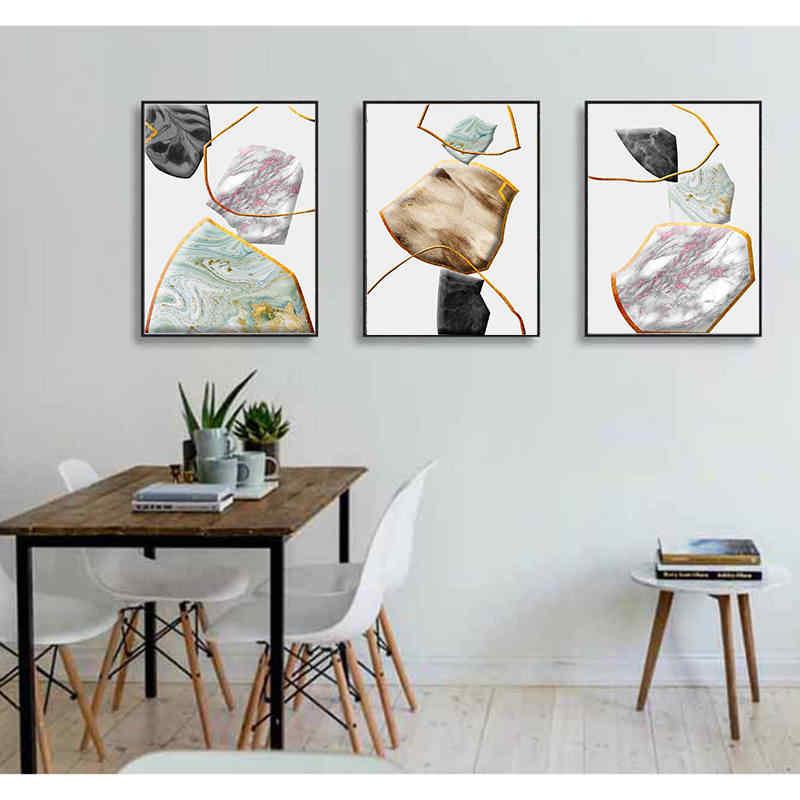 北欧スタイルミニマルな抽象装飾画大理石石の壁アート幾何学ラインポスターと印刷リビングルーム