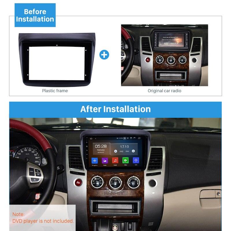 Harfey 9 cal ramka radia samochodowego dla MITSUBISHI pajero sport konsoli panel ramka w desce rozdzielczej do montażu zestaw do montażu w stylu OEM 2din
