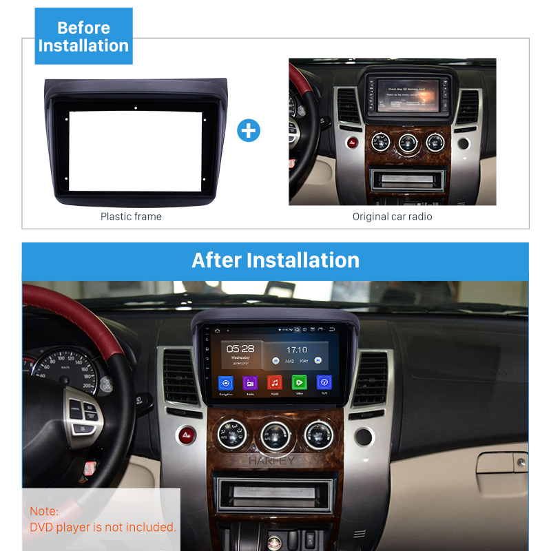 Marco de radio de coche Harfey de 9 pulgadas para MITSUBISHI PAJERO SPORT Fascia Marco de panel en Dash Trim Kit de montaje de instalación estilo OEM 2din