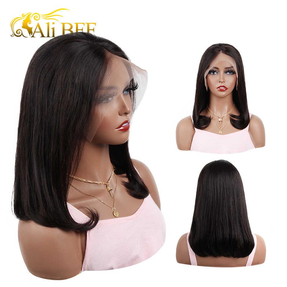 Pelucas de cabello humano corto liso, peluca Frontal de encaje 360, pelucas frontales de encaje recto de Bob, peluca Frontal de cabello malayo ALI BFF
