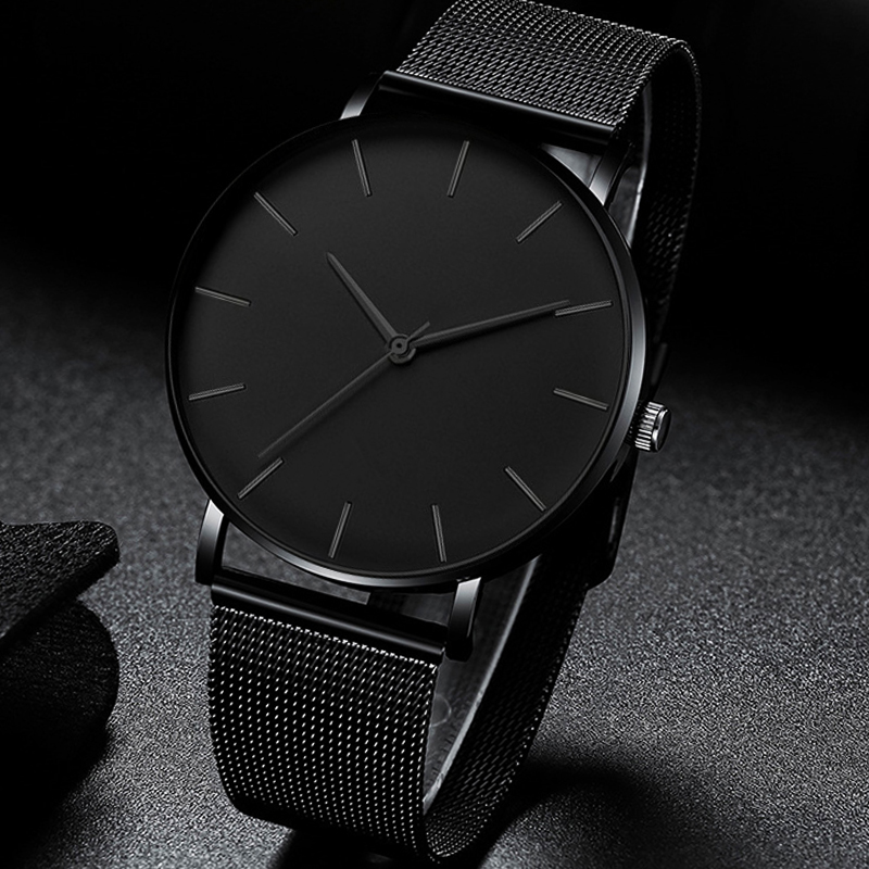 Luxury Watch Men Mesh Ultra-thin Stainless Steel Quartz Wrist Watch Male Clock Reloj Hombre Relogio Masculino Free Shipping