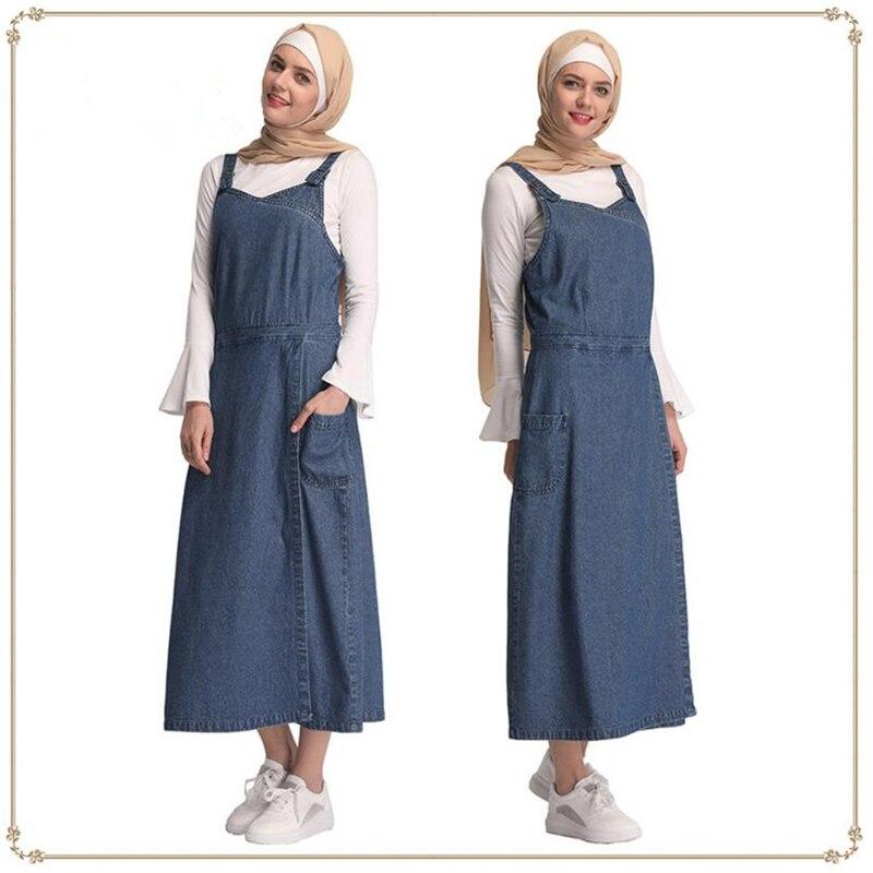 Fashion Dubai Muslim Dress Womens Jeans Overalls Denims Muslim Ladies Clothing Islamic Suspender Skirt Plus Size S-XXL
