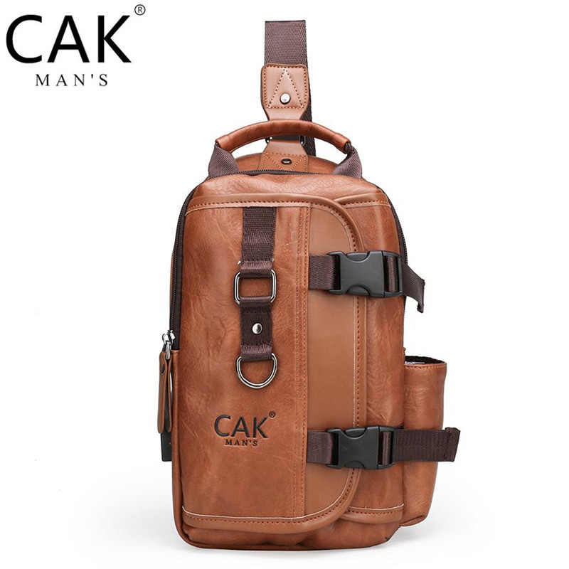 CAK New Multifunction Crossbody Sling Bag for Men Anti-theft Leather Shoulder Bags For iPad Male Waterproof Trip Chest Bag Pack