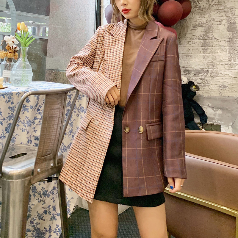 Spring And Autumn Women's Suit Casual Plaid Stitching Pocket Decoration Suit