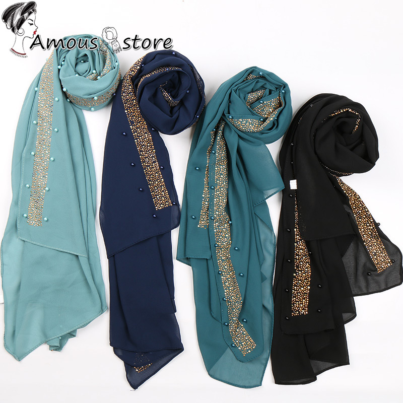 Beads Bubble Chiffon Hijab Scarf Glitter Hijab Plain Shawls Muslim Scarves Headscarf Pearls Wraps Headband Scarves