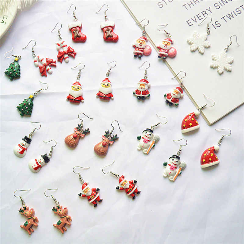 "1 Pair Cute Resin Earrings Christmas Snowman, Santa Claus & Reindeer Earring Jewelry Gift For Women Girls Friends 5cm(2"") Long"