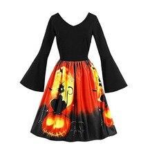 2019 Women Dress Costume Halloween  Pumpkin Head Vintage Black Short Sleeve Print Evening Party Dresses S-5XL