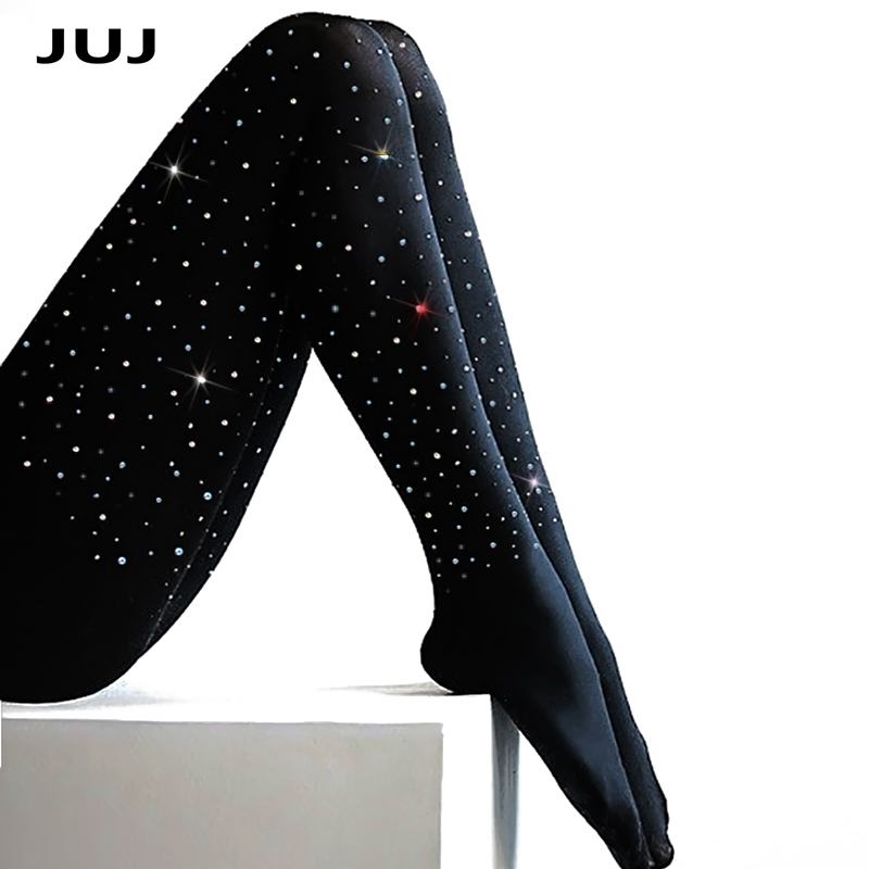 2020 New Sexy Women Plus Size Rhinestone Tights 100D Stretchy Bling Pantyhose Autumn Winter Thick Tights High Quality Pantyhose