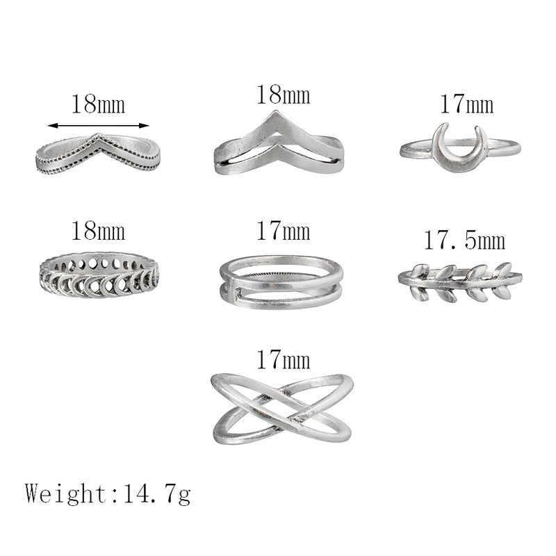 Sindlan 7 Uds Simple plata geométrica Luna encanto anillos para mujeres Punk moda Boho conjunto de anillos de dedo accesorios de joyería