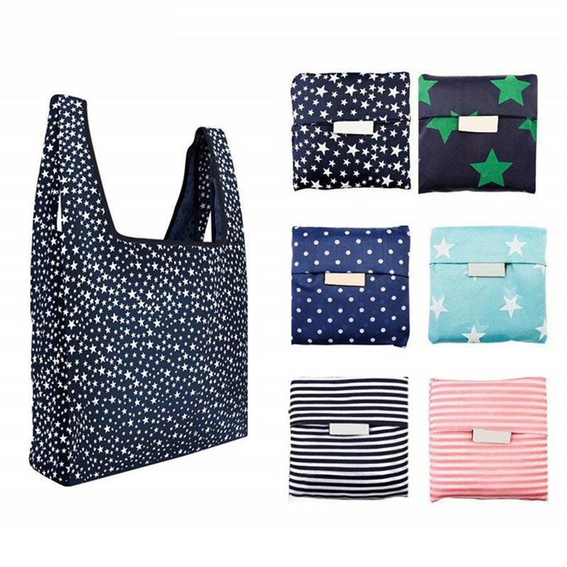1 PC Printed Foldable Oxford Shopping Bag Ecological Reusable Tote Shopping Bag Women Eco Large-capacity Storage Folding Handbag