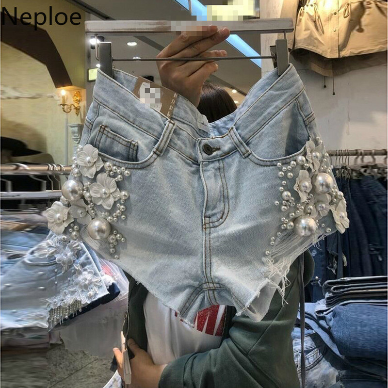 Neploe Beading Short Pants Women Solid Fashion Zipper Fly Button Ladies Shorts Spring 2020 Casual High Waist Female Jeans 1B679