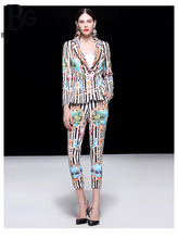 Baogarret High Quality Autumn Winter Blazers Two Piece Set Womens Fashion Black White Striped Floral Print Designer Pants