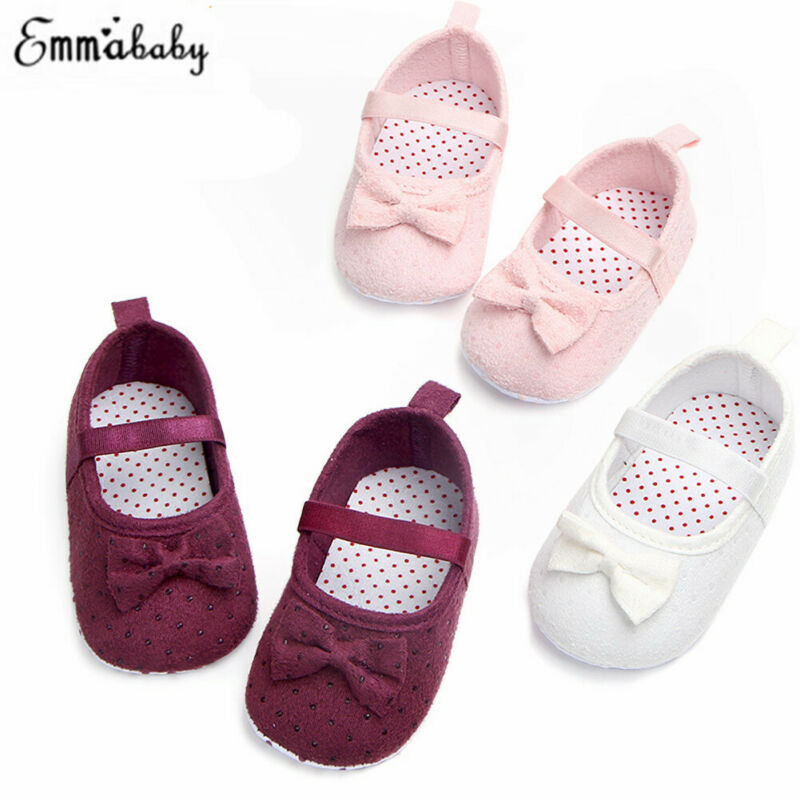 Baby Girl Pricess Bow-Knot Crib Shoes Solid Cotton Soft Sole Warm Fur Crib Shoes First Walker
