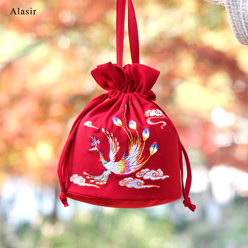 Alasir Red Koi Hanfu Bag Mini Embroidery Bucket Vintage Daily Handbag Chinese Style Tote Bag Women String Shoulder Bags