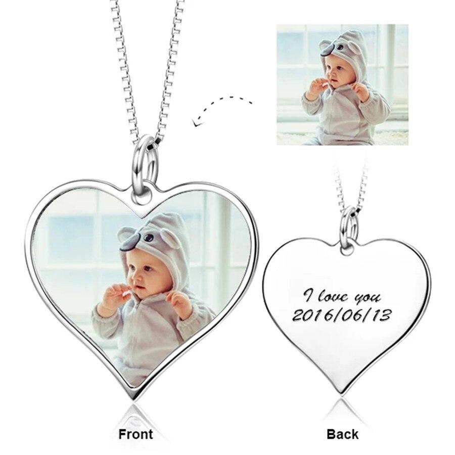 YFN 925 argent Sterling personnalisé Photo texte colliers pendentif personnalisé gravé bijoux réglable 16