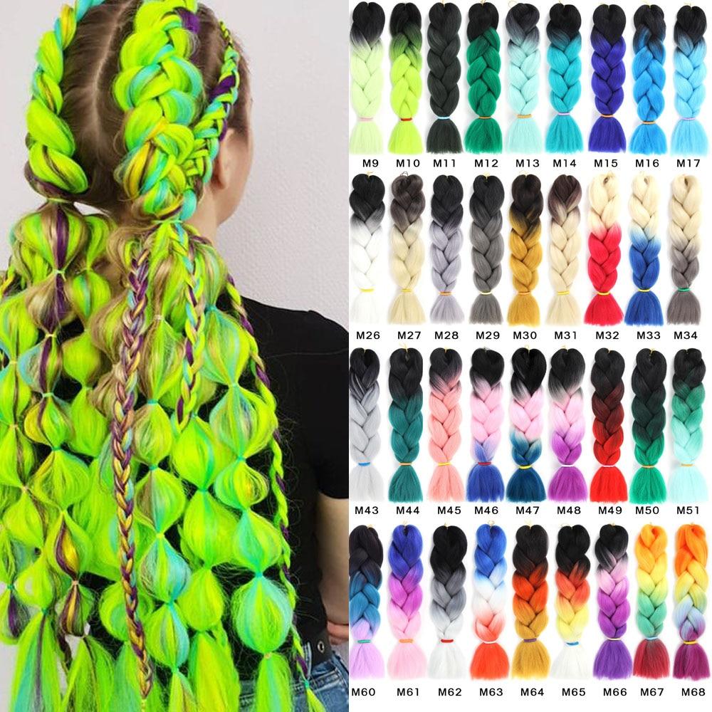 Ombre Jumbo Braids Hair Synthetic Braiding Hair Colorful Crochet Braid Hair Extensions 613 Green Purple Pink 24inch(60cm) 100g