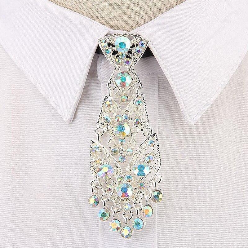 2020 New Design Luxury Tie Trendy General Wine Party Wedding Ceremony Metal Short Personality Crystal Neckties Men Accessories
