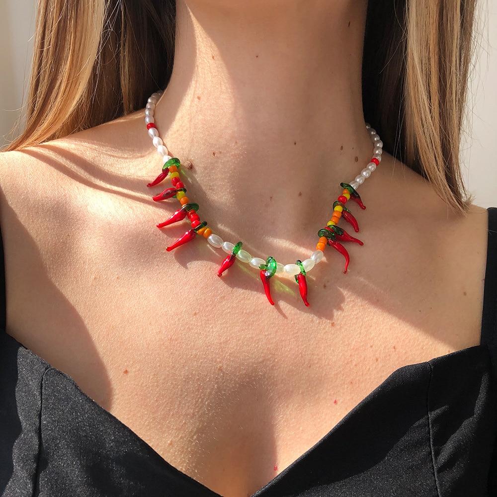 Женское винтажное ожерелье в стиле бохо, простое ожерелье с искусственным жемчугом красного чили в стиле хип-хоп, чокер на цепочке, Подарочн...