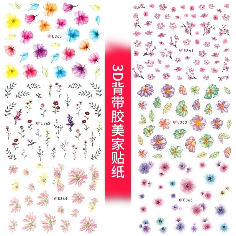 E325-368 3D Suspender Strap Glue Nail Sticker Spring Flower Nail Flower Stickers Flower Manicure Flower Stickers Nail Sticker