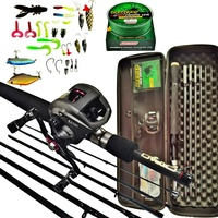 Fishing Rods and Reels 6/7 Sections Carbon Rod Baitcasting Reel Travel Fishing Rod Set with Full Kits Carrier Bag