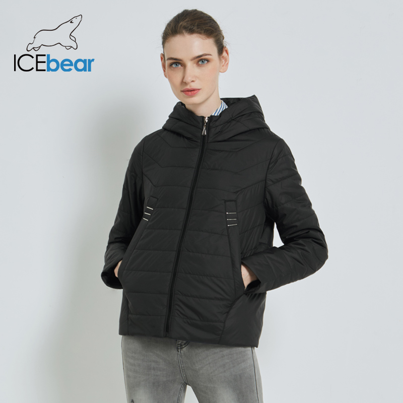 ICEbear 2019 New Women's Lightweight Jacket Fashion Short Coat Hooded Female Coat High Quality Windproof Warm Coats GWC19091I
