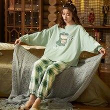 Женские хлопковые пижамы caiyier с милым принтом и круглым вырезом