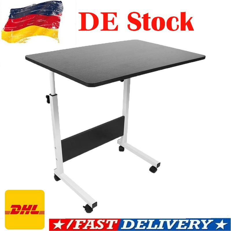 1pc Laptop Table Foldable Movable Bedside Desk Multifunctional Laptop Stand Lifting Side Table for Home Room (60x40 cm)
