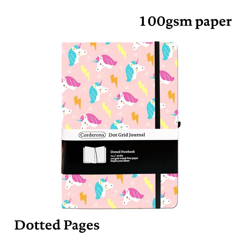 unicornio rosa a5 pontilhada capa dura notebook dot grade 100gsm jornal diario de viagem