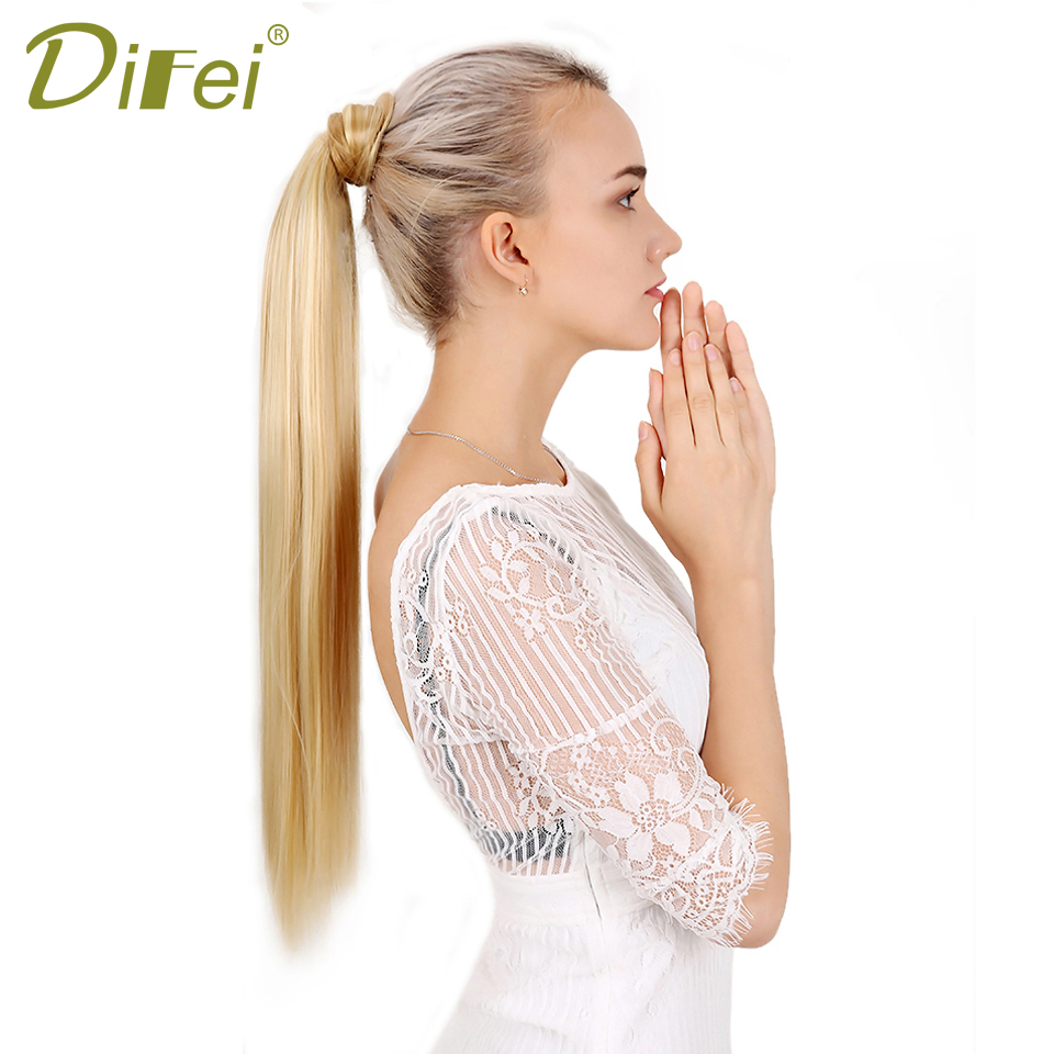 DIFEI Long Silky Straight Ponytail Synthetic Hairpieces for Women 24 Inch Black Brown Hairpieces Wrap on Clip Hair Extensions