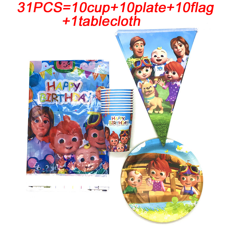 Cocomelon Theme Party Supplies Party Decoration Birthday Paper Cups Plates Banner Kids Boy Favors Baby Shower Tablecloth Party