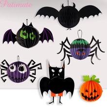 Halloween Decorations Paper Lantern Honeycomb Ball Pumpkin Decor Bat Spider Accessories Party Favors 2019
