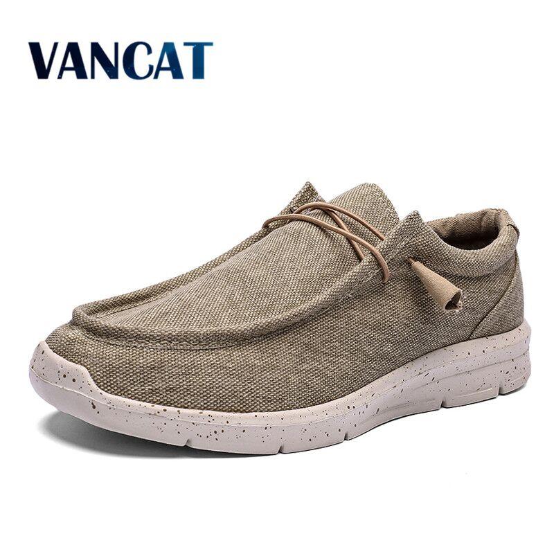 2020 New Spring Summer Men's Vulcanized Shoes Comfortable Breathable Canvas Shoes Men's Flat Shoes Soft Men's Shoes Big Size 48