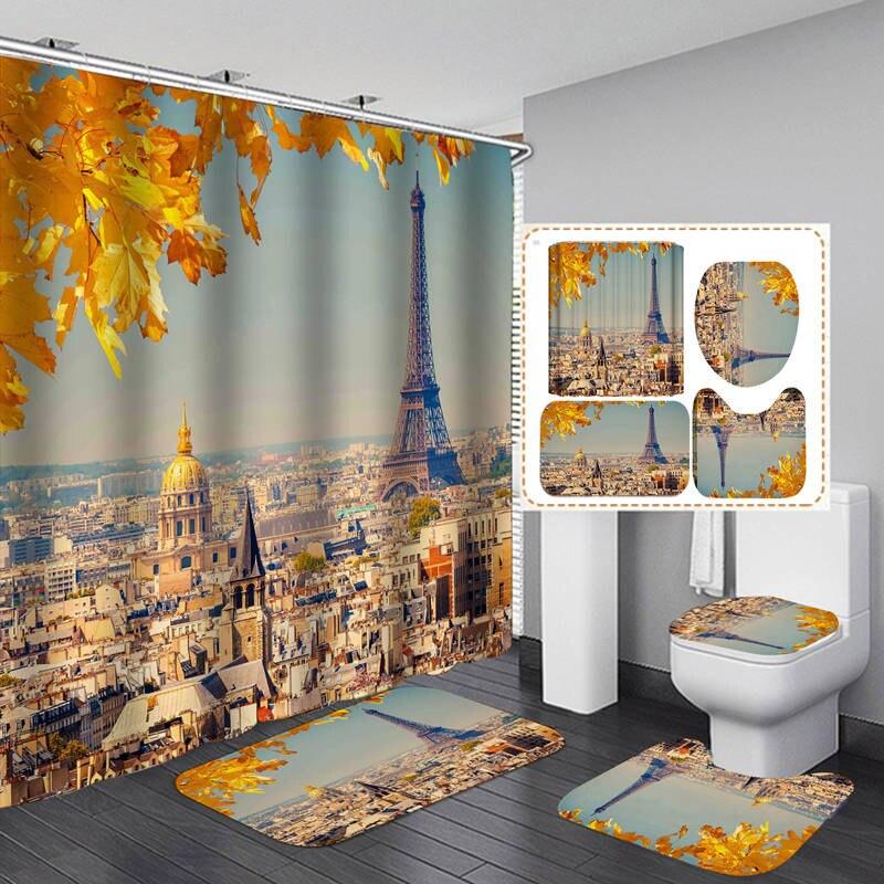 Железная башня дом художественный принт фланелевый банный коврик для крышки унитаза коврики для душа из Шторы, украшенное мозаикой из драг...