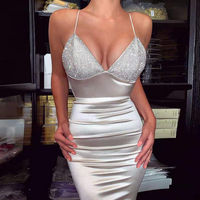Yesexy 2019 Sexy Deep V Neck Halter Diamond Bodycon Women Mini Dresses Solid Color Elegant Female Party Dresses VR19734