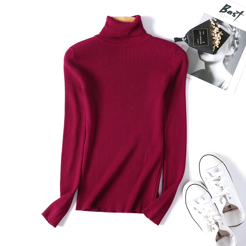 2020 AUTUMN Winter women Knitted Turtleneck Sweater Casual Soft polo-neck Jumper Fashion Slim Femme Elasticity Pullovers 12