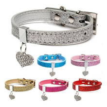 6 colors Crystal Pet Dog Cat Bell Collar Pendants Necklace Safety Soft Leather Bling Love Heart Puppy Neck Strap Tool