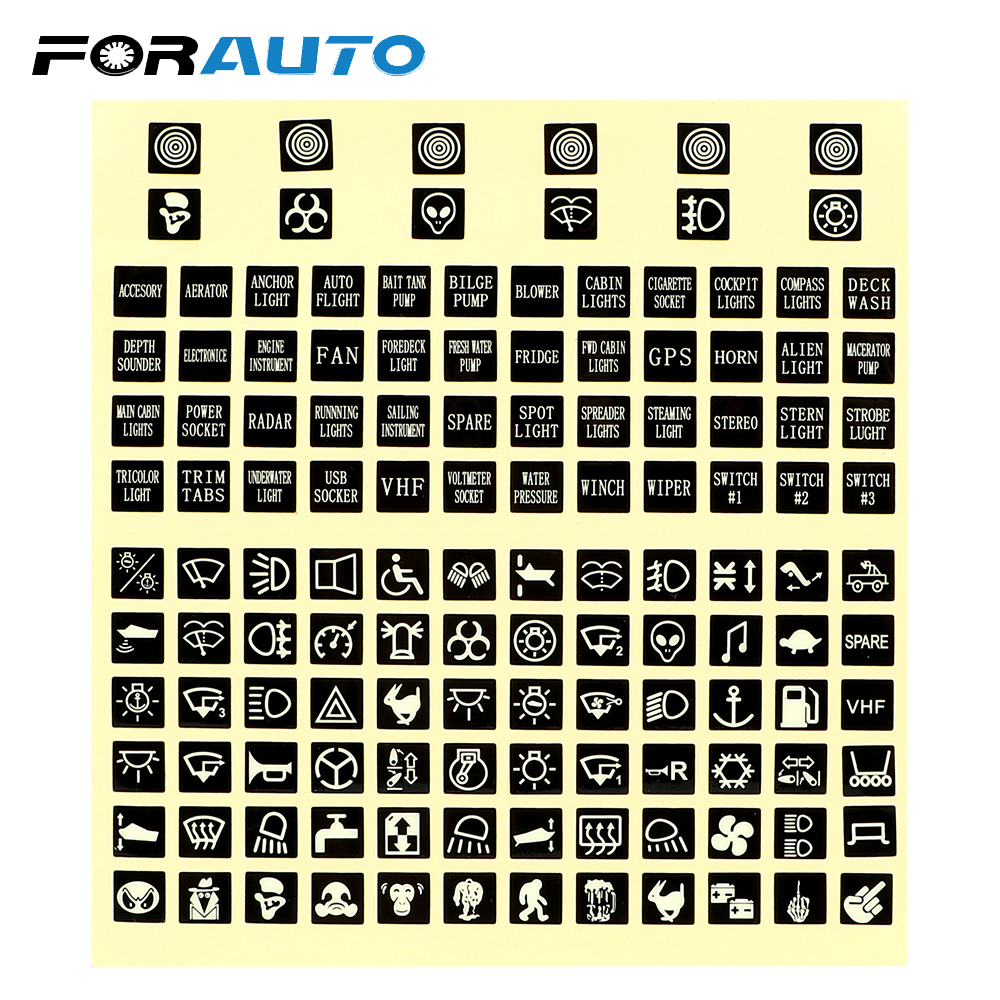 Car Boat Button Panel Decals Repair Label Set 45pc Marine GPS Horn Light NEW