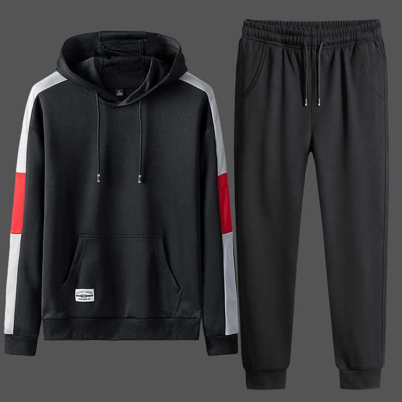 2020 Mens Tuta di Autunno della Molla casual Harajuku Uomini Felpe Set Patchwork Felpa Pantaloni Della Tuta Uomo Vestito di Pista Streetwear