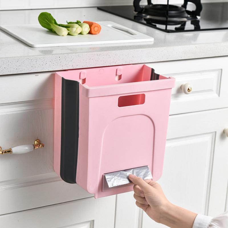 Wall-hanging Trash Can With Small Drawer For Kitchen Cabinet Door Collapsible Trash Bin Garbage Can Used In Kitchens Dropship