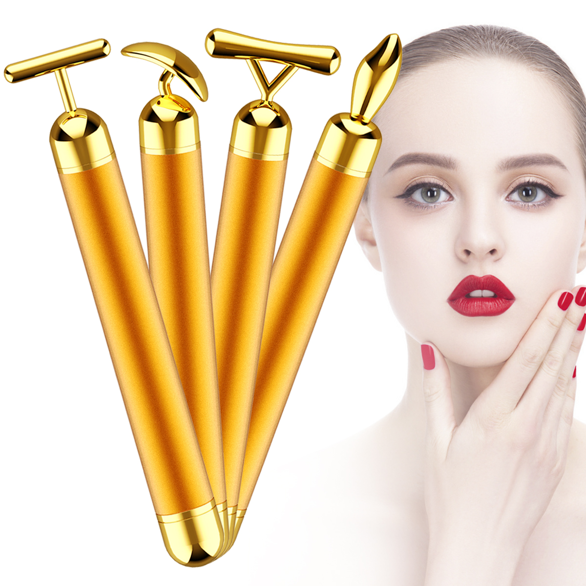 4-In-1 24k Gold Beauty Bar Anti-Wrinkle Anti-Aging Micro Vibrating Face Massager Skin Care Electric Stick Massage Tighten Skin