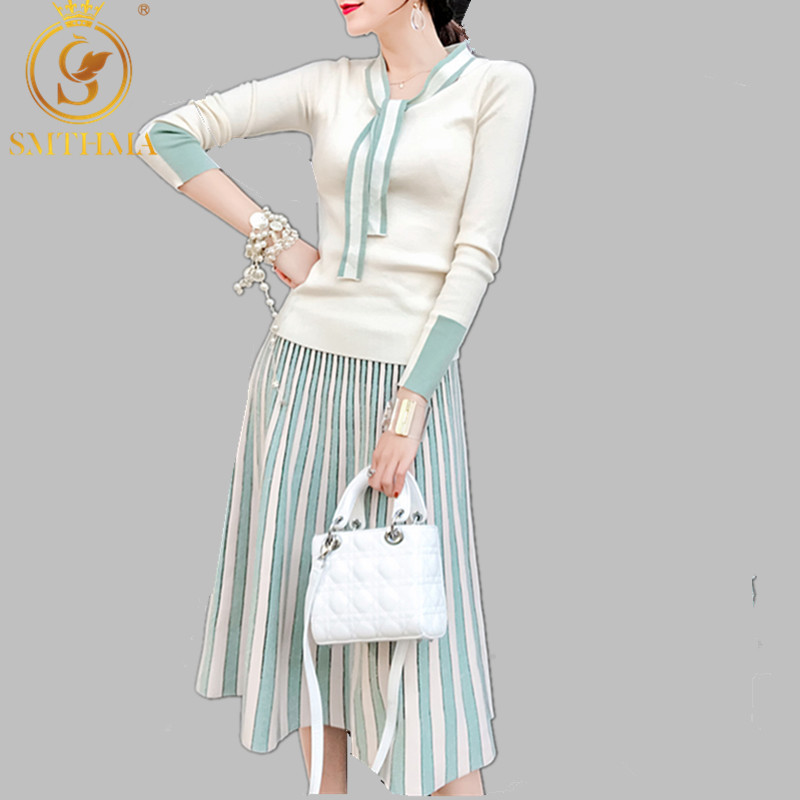 Autumn Spring Women Elegant Sweater Pullover + Pleated Skirt 2 Piece Set Shiny Knitted Midi Dress Slim Sweater Suit