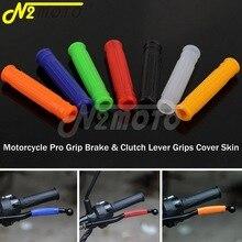 Red Blue Black Transparent Orange Motorcycles Rubber Pro Grip Brake Clutch Lever Grips Cover Skin For EXC XC KLX DR XT YZ WR XR
