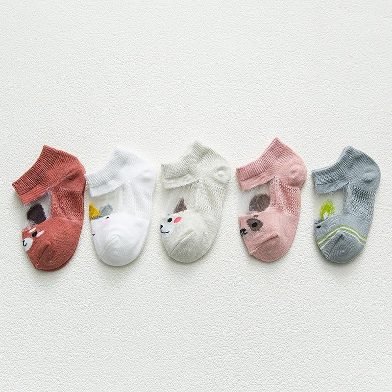 5 Pairs/lot 0 to 7 Years Spring Summer Thin Mesh Socks For Girls Boys Cute Animal Children's Thin Sock Baby Newborn Short Socks 4